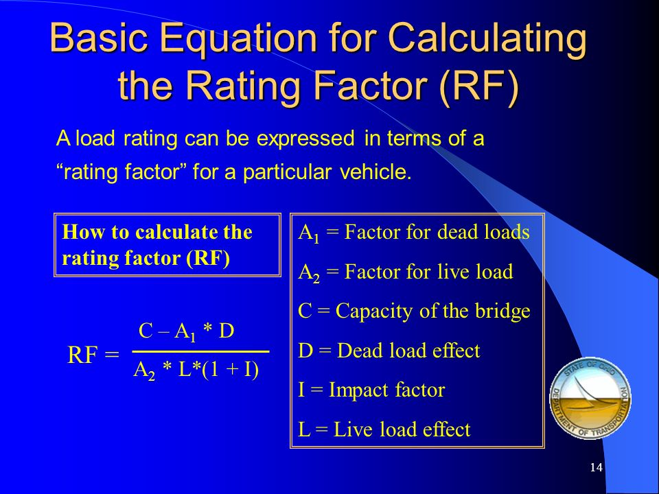 Basic Equation for Calculating the Rating Factor (RF)