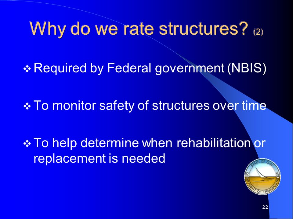 Why do we rate structures (2)