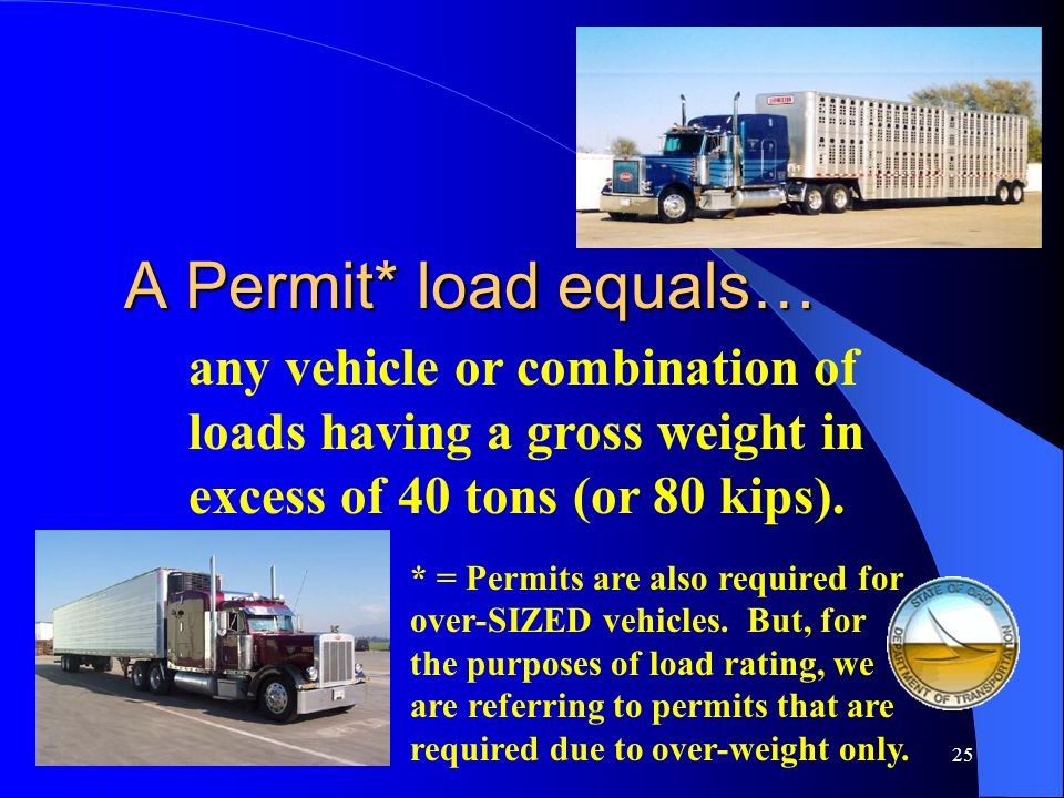 A Permit* load equals… any vehicle or combination of loads having a gross weight in excess of 40 tons (or 80 kips).