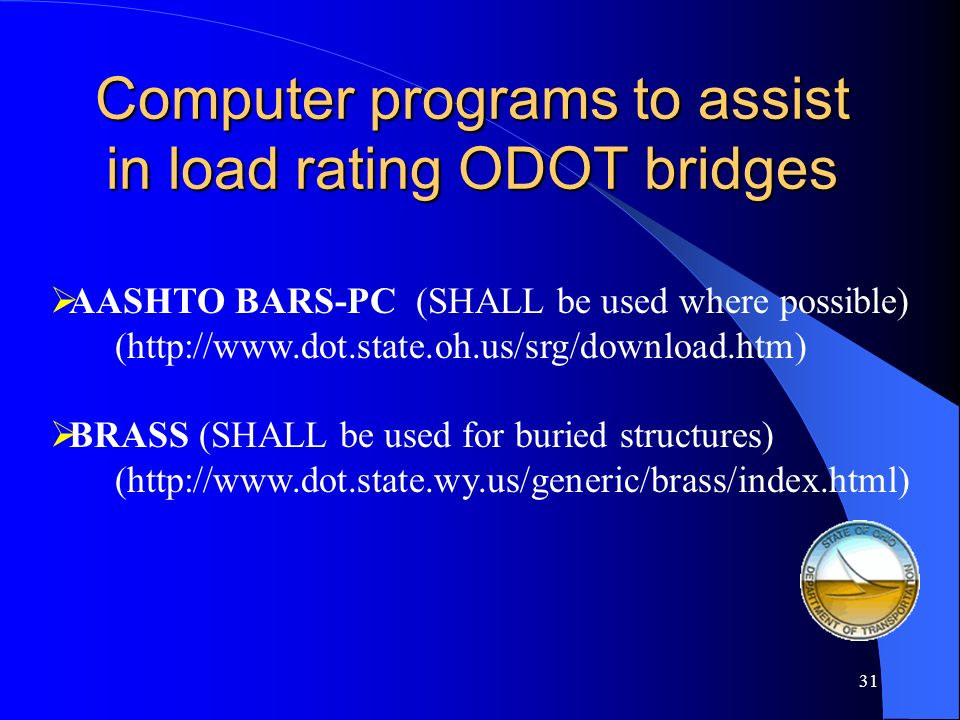 Computer programs to assist in load rating ODOT bridges
