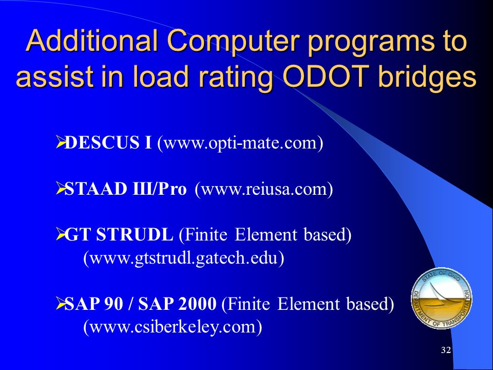Additional Computer programs to assist in load rating ODOT bridges