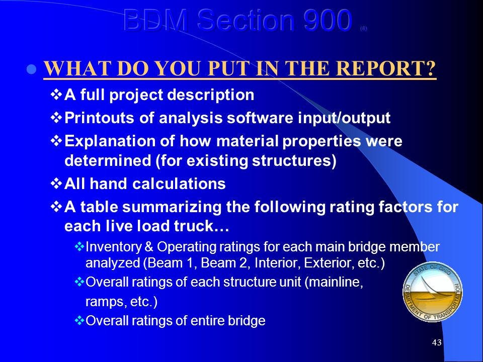 BDM Section 900 (8) WHAT DO YOU PUT IN THE REPORT