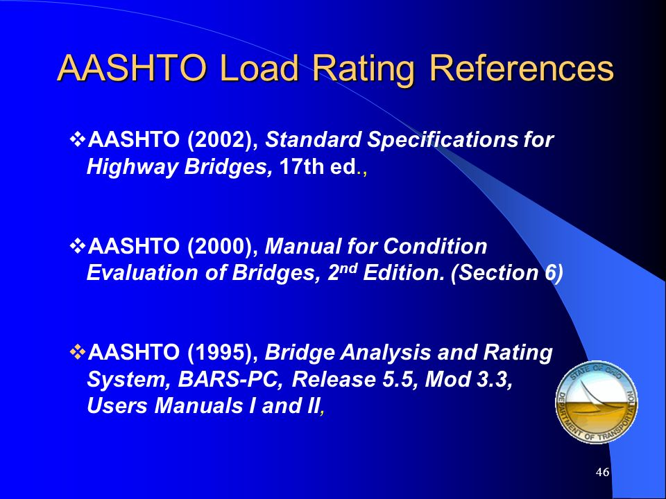 AASHTO Load Rating References