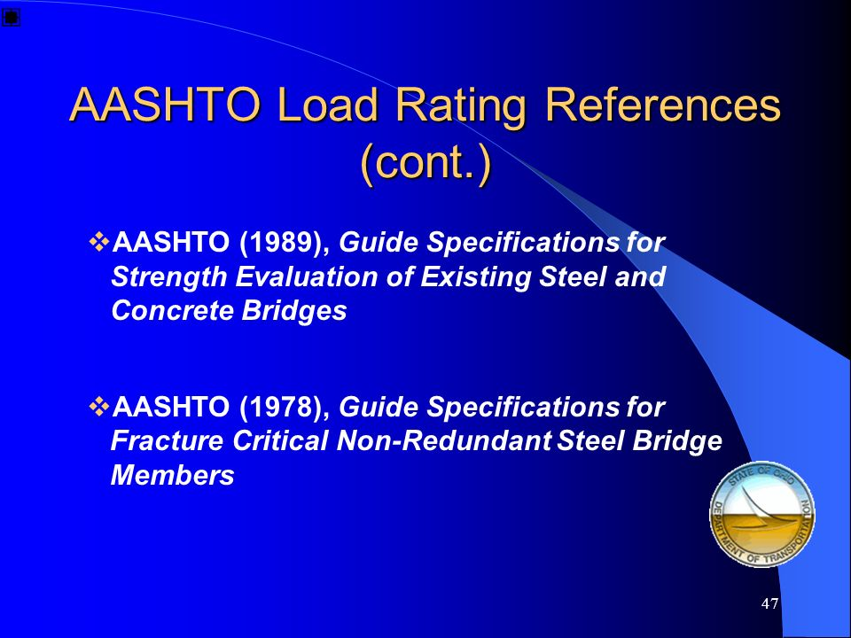 AASHTO Load Rating References (cont.)