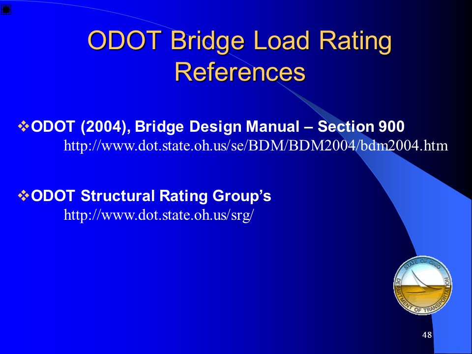 ODOT Bridge Load Rating References