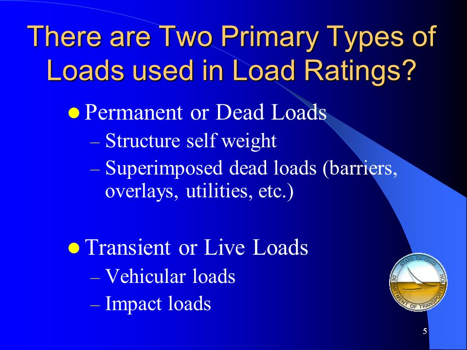 There are Two Primary Types of Loads used in Load Ratings