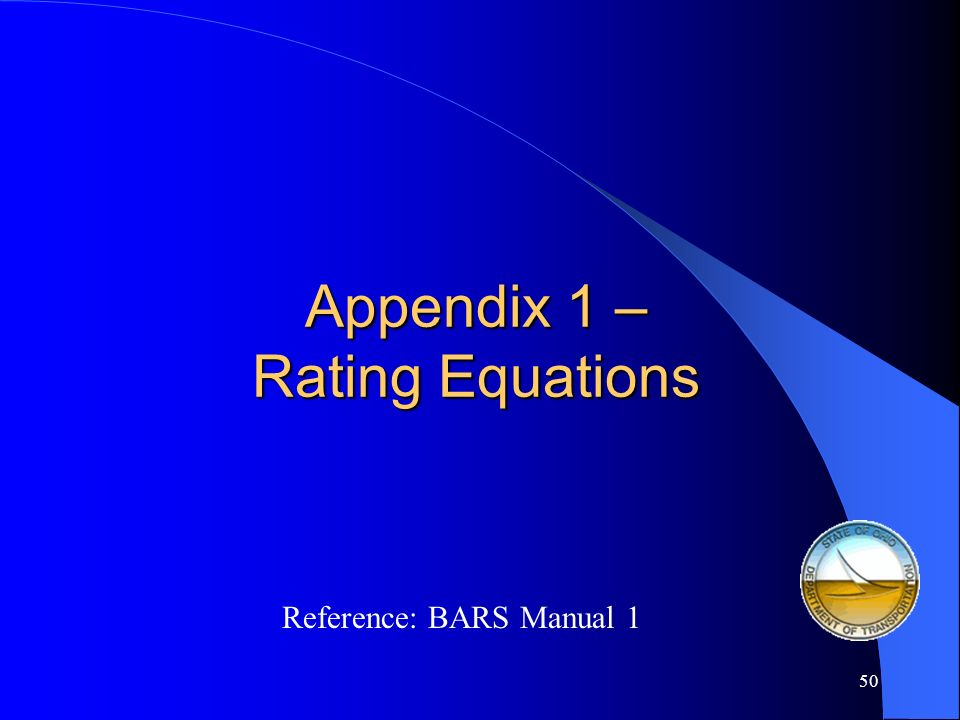 Appendix 1 – Rating Equations