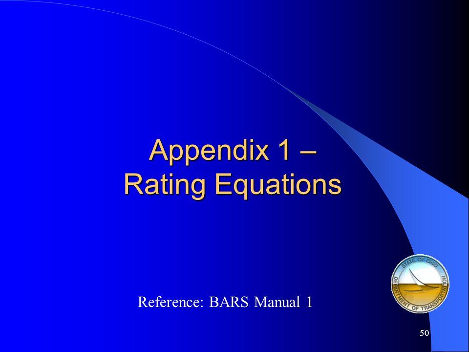 Appendix 1 – Rating Equations