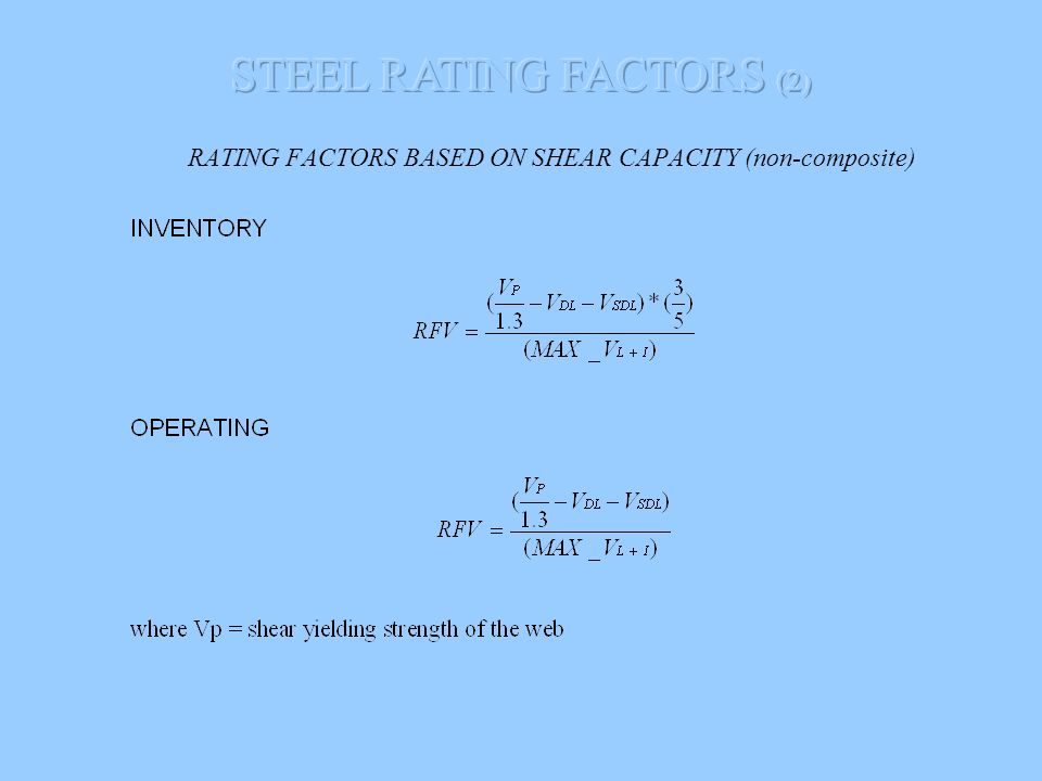 RATING FACTORS BASED ON SHEAR CAPACITY (non-composite)