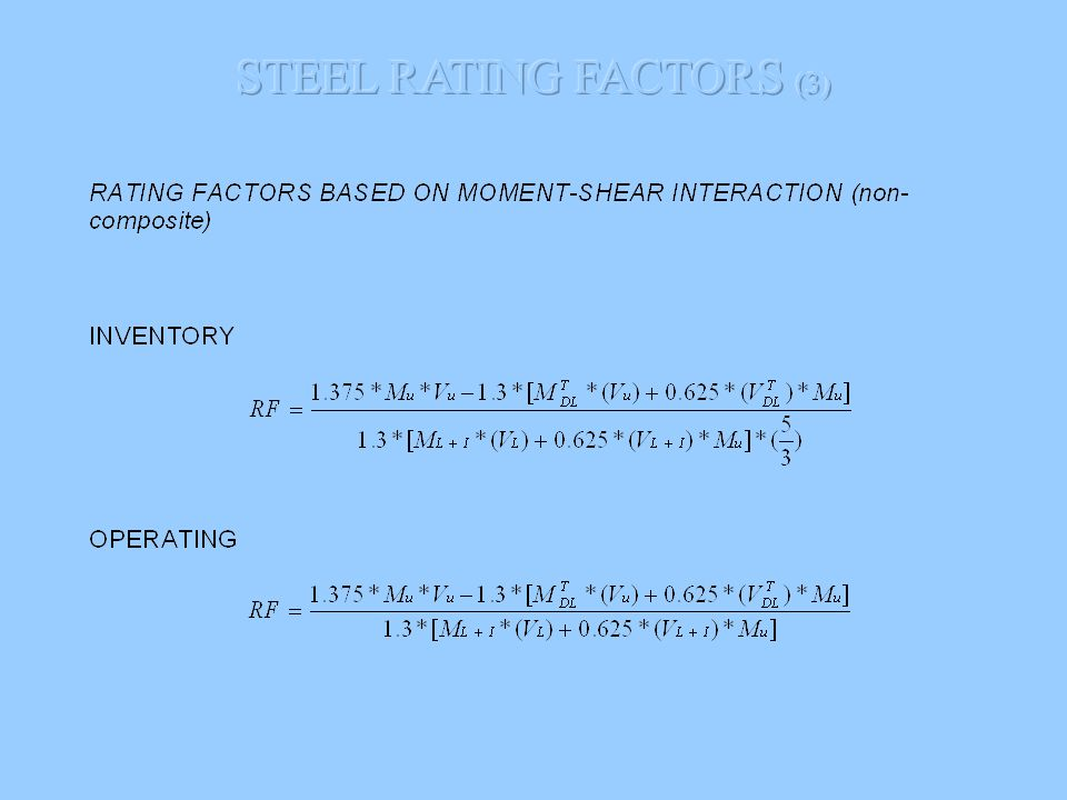 STEEL RATING FACTORS (3)