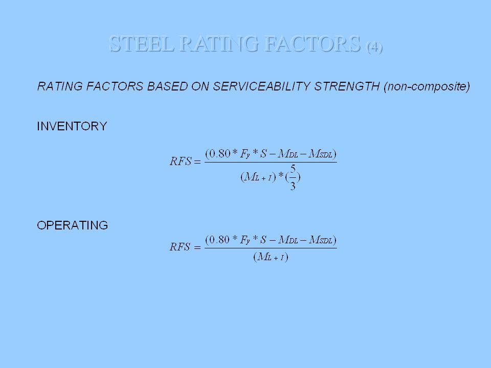 STEEL RATING FACTORS (4)