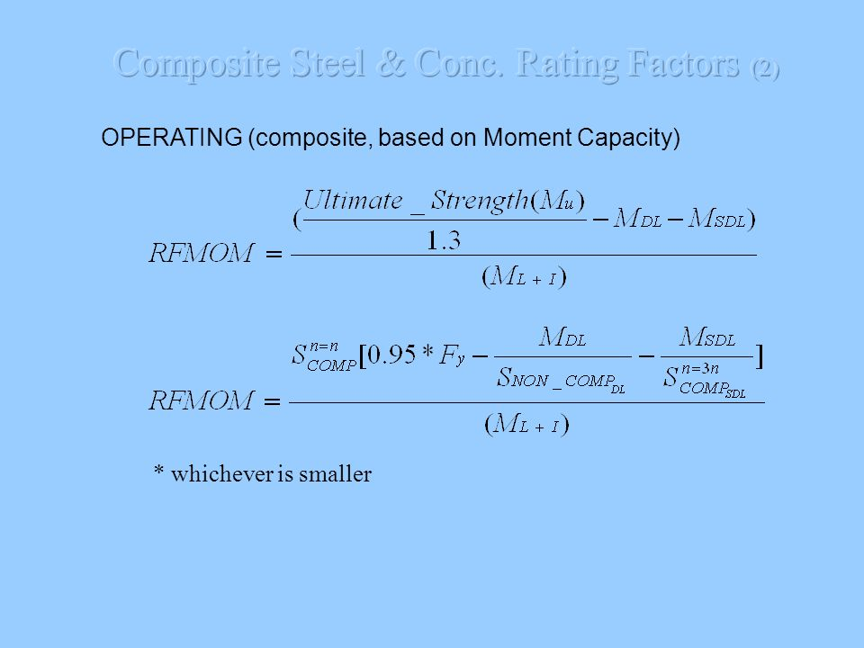 Composite Steel & Conc. Rating Factors (2)
