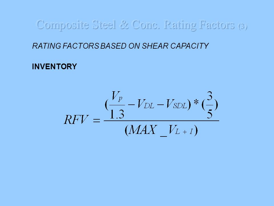 Composite Steel & Conc. Rating Factors (3)