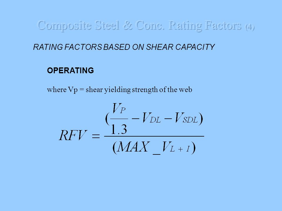 Composite Steel & Conc. Rating Factors (4)