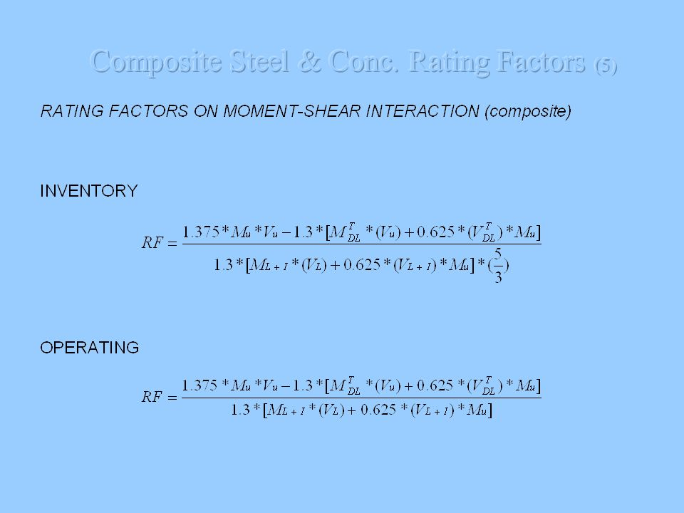 Composite Steel & Conc. Rating Factors (5)