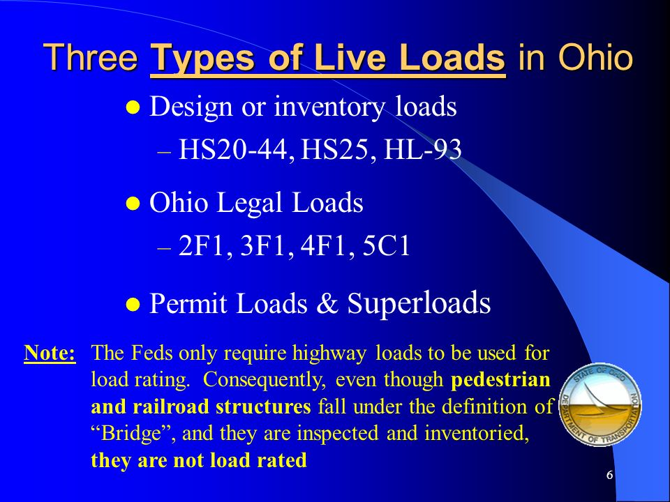 Three Types of Live Loads in Ohio