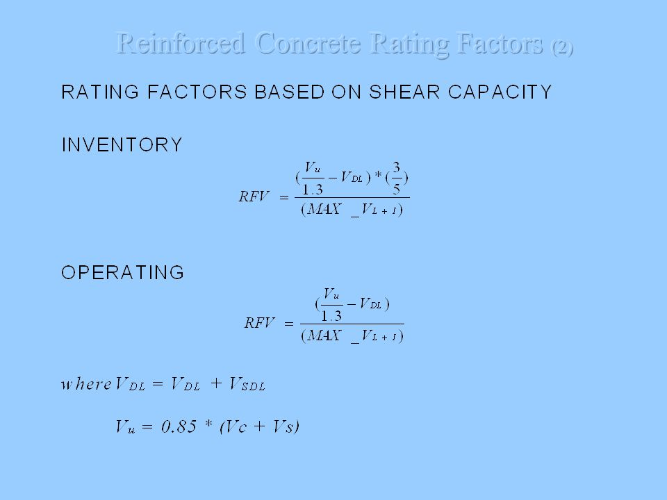 Reinforced Concrete Rating Factors (2)