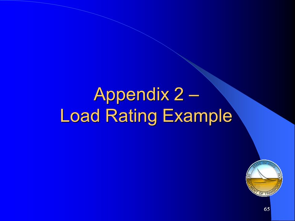 Appendix 2 – Load Rating Example