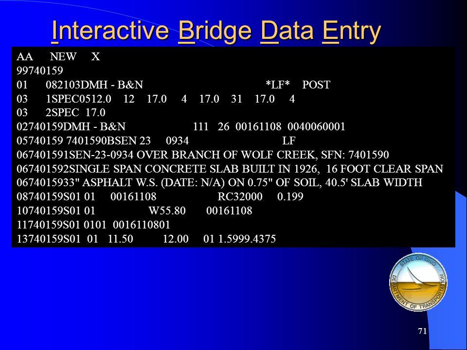 Interactive Bridge Data Entry