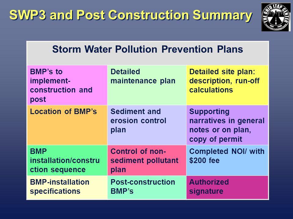 SWP3 and Post Construction Summary