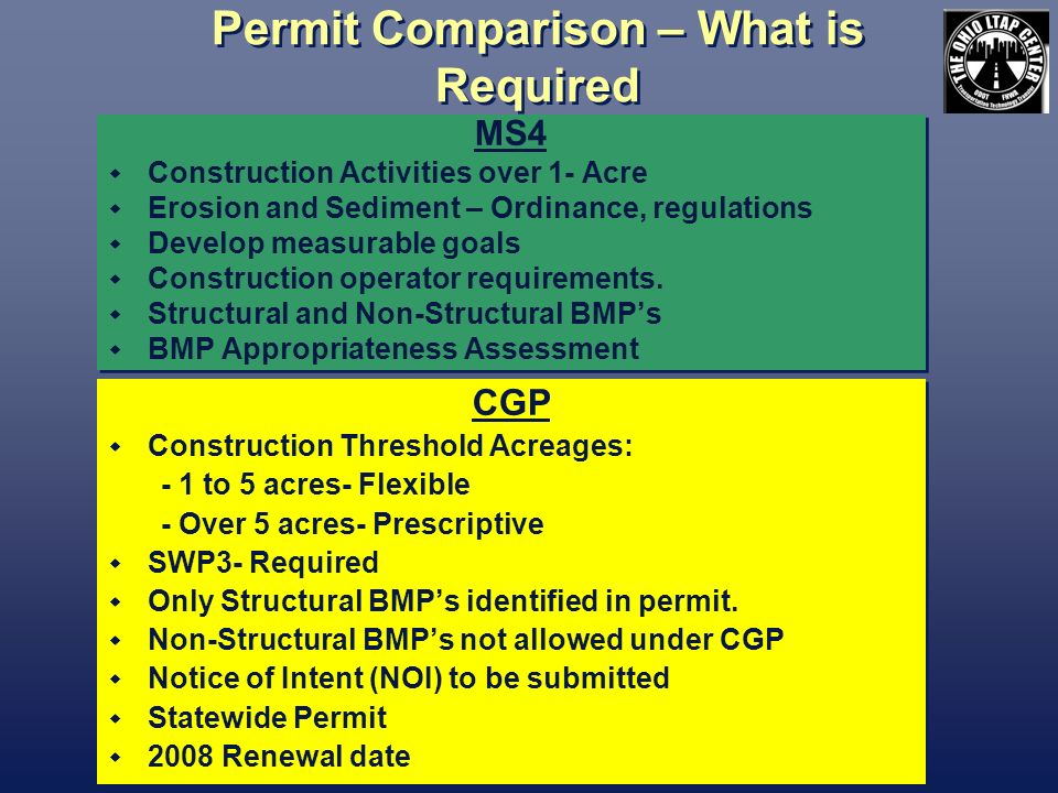 Permit Comparison – What is Required