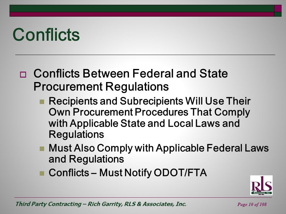 Conflicts Conflicts Between Federal and State Procurement Regulations