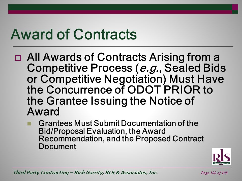 Award of Contracts