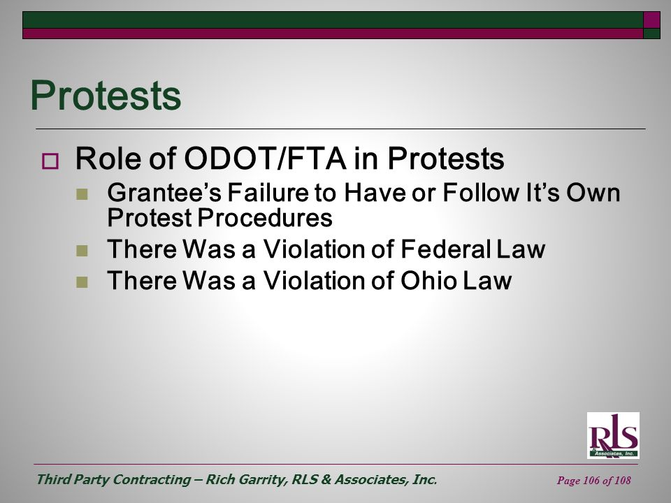 Protests Role of ODOT/FTA in Protests