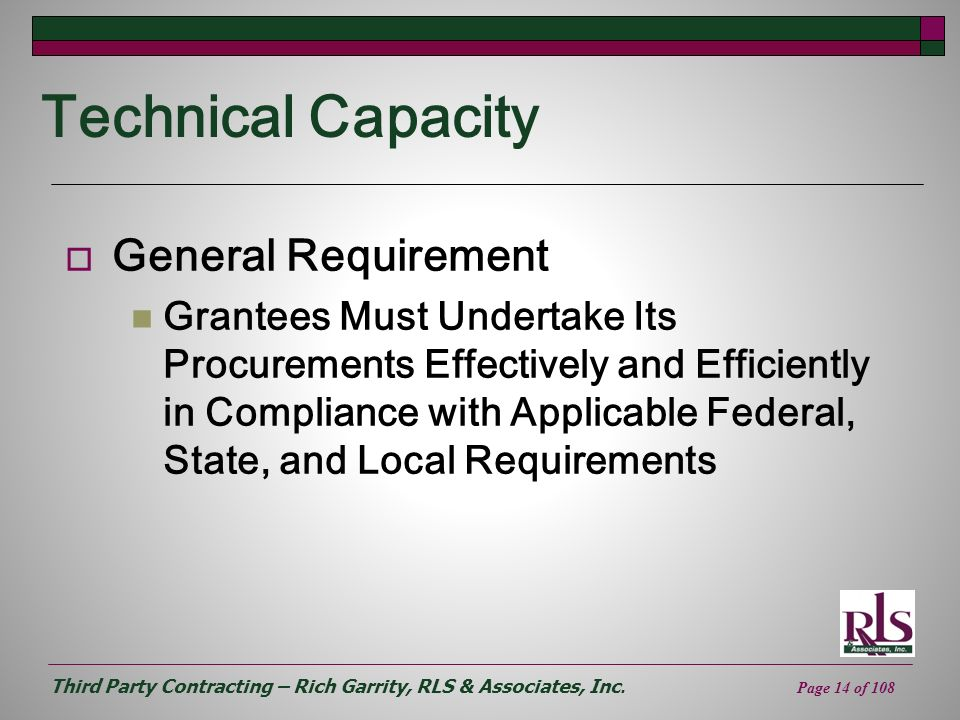 Technical Capacity General Requirement