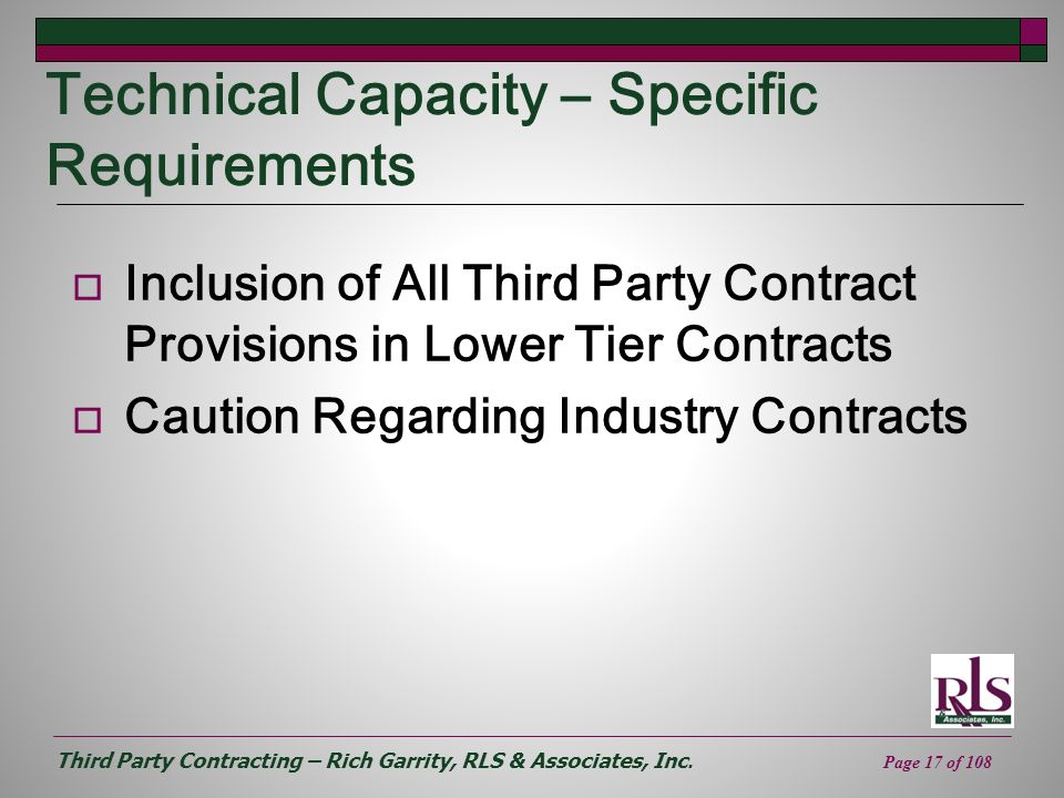 Technical Capacity – Specific Requirements