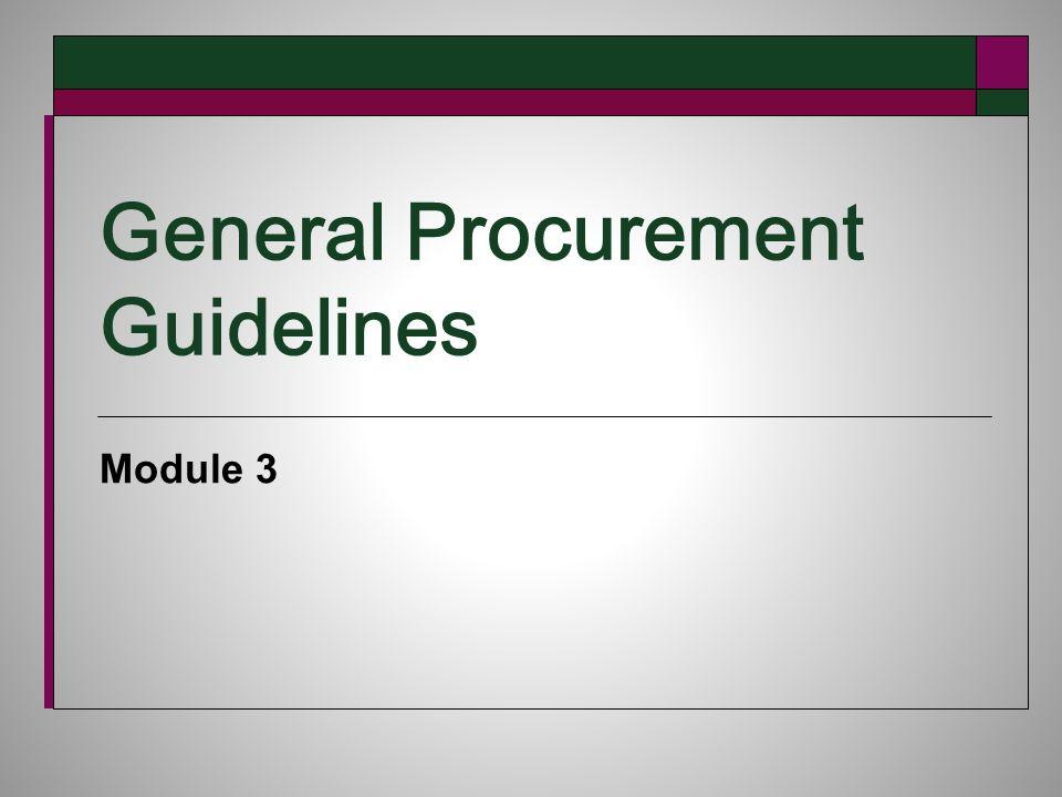 General Procurement Guidelines