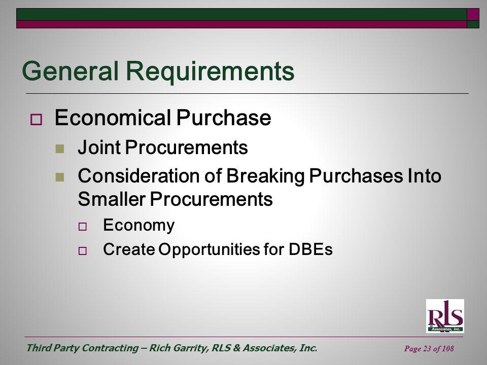General Requirements Economical Purchase Joint Procurements