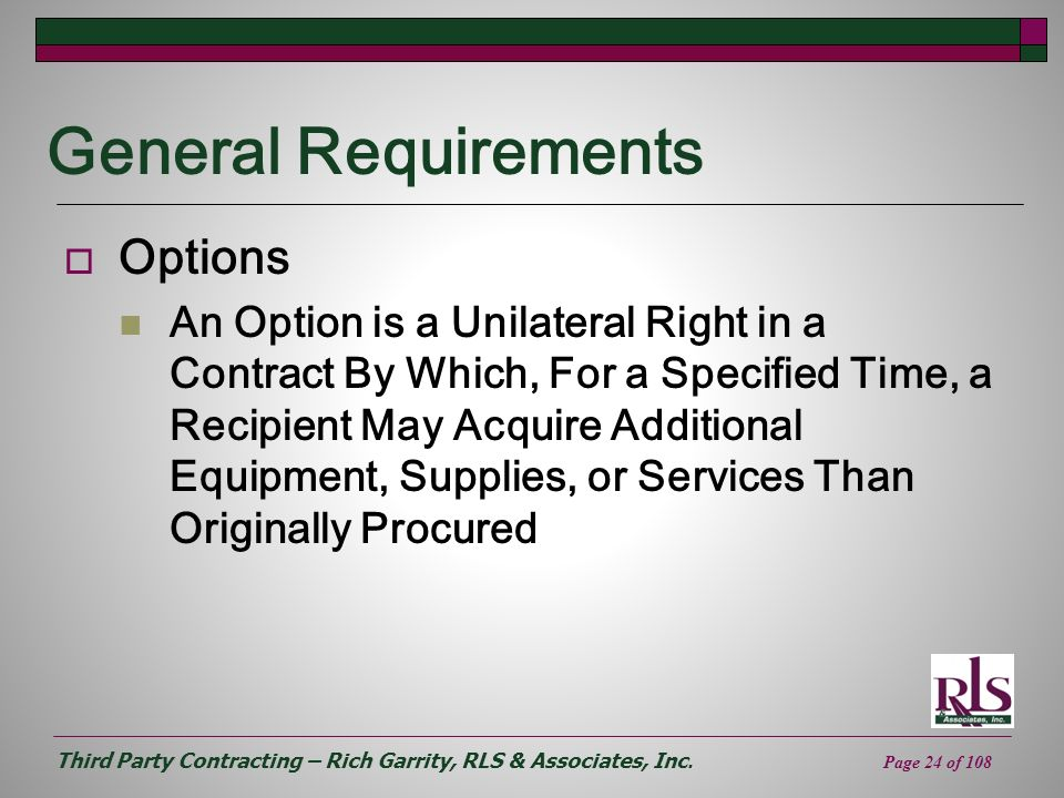 General Requirements Options