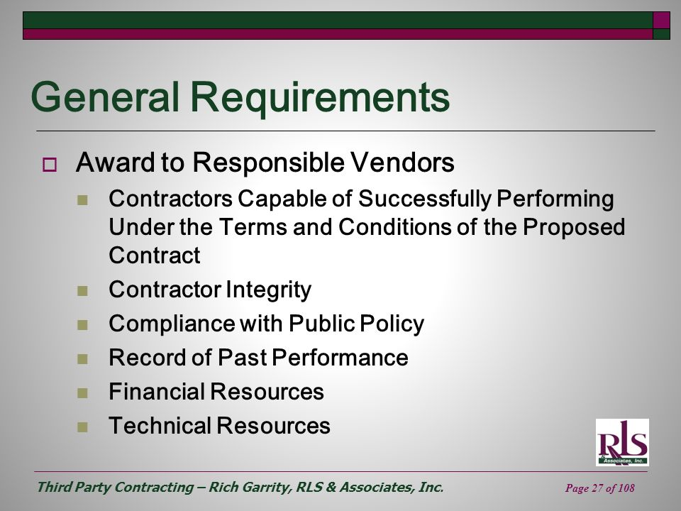 General Requirements Award to Responsible Vendors