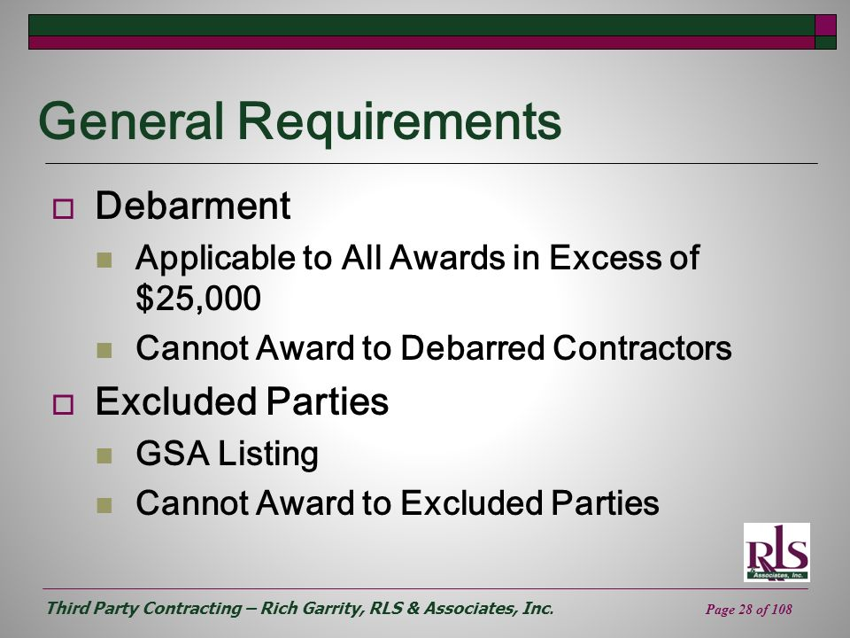 General Requirements Debarment Excluded Parties