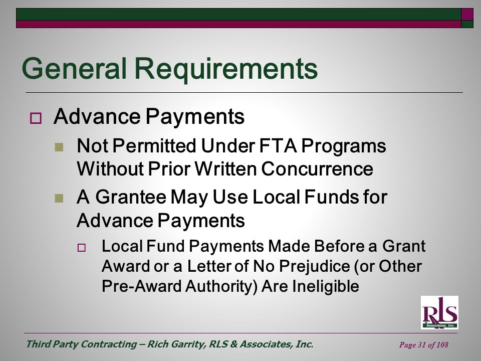 General Requirements Advance Payments