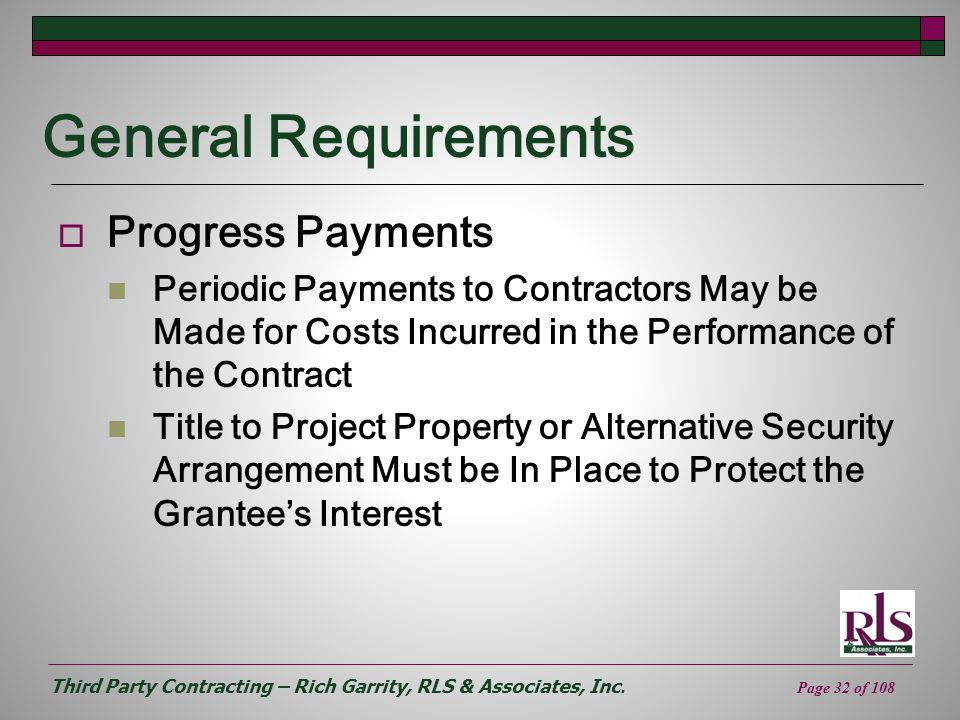 General Requirements Progress Payments