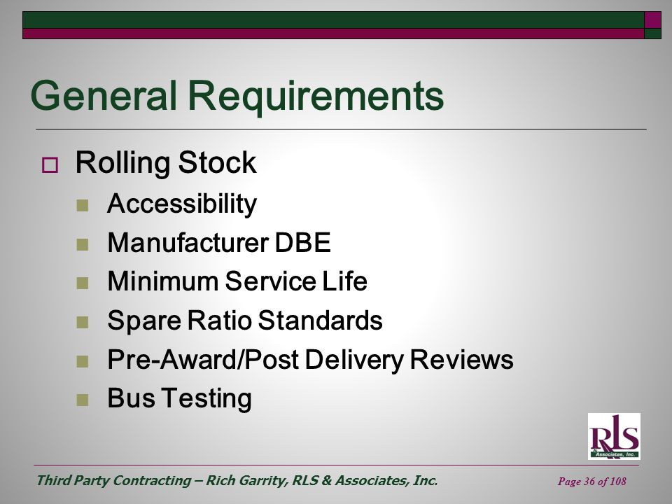 General Requirements Rolling Stock Accessibility Manufacturer DBE
