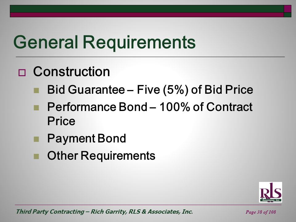 General Requirements Construction