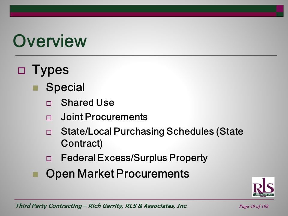 Overview Types Special Open Market Procurements Shared Use