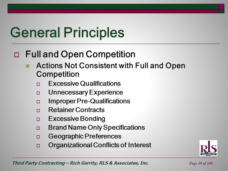 General Principles Full and Open Competition