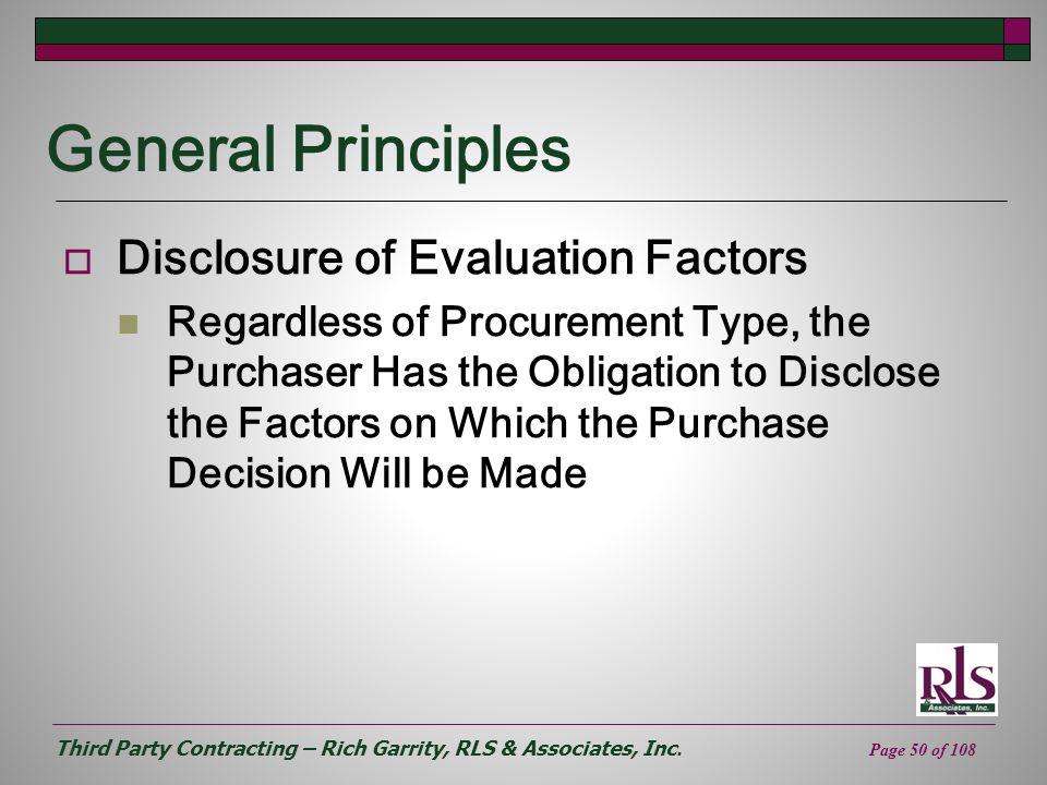 General Principles Disclosure of Evaluation Factors