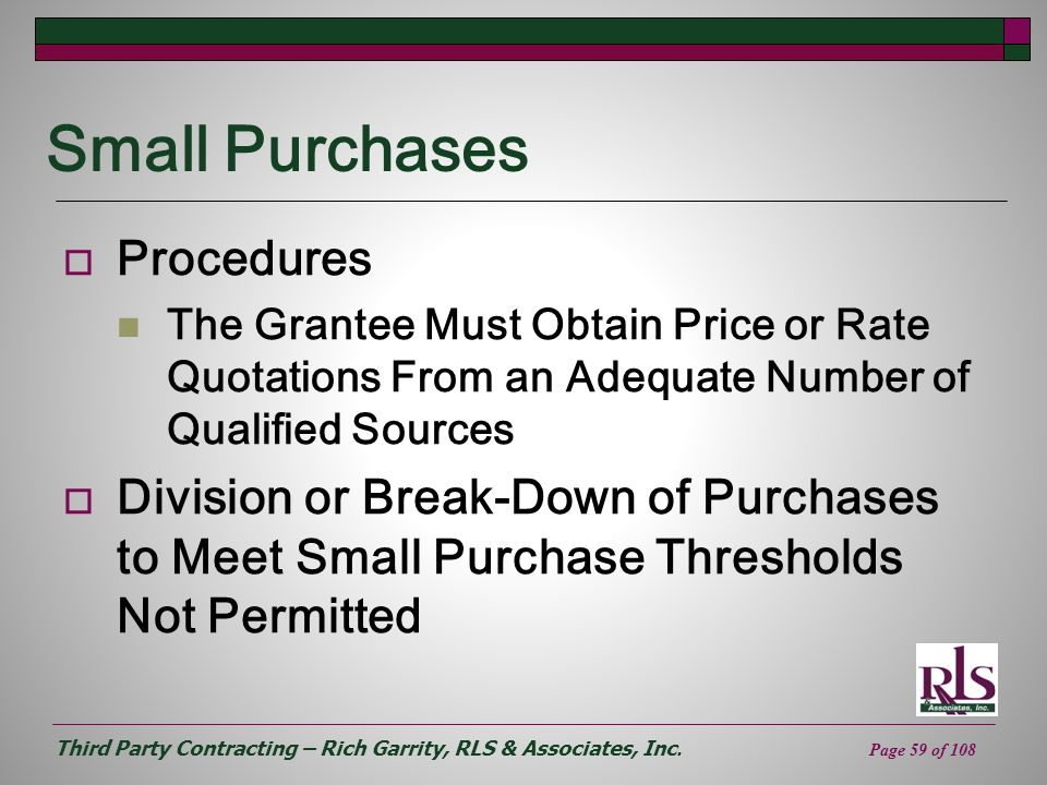 Small Purchases Procedures