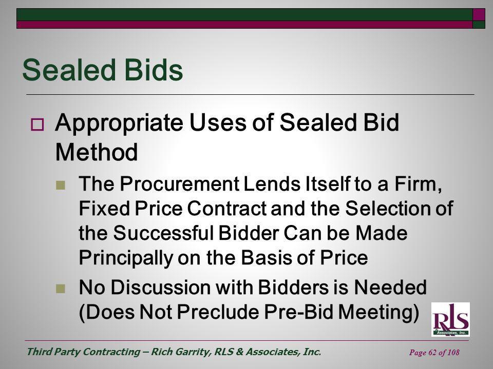 Sealed Bids Appropriate Uses of Sealed Bid Method