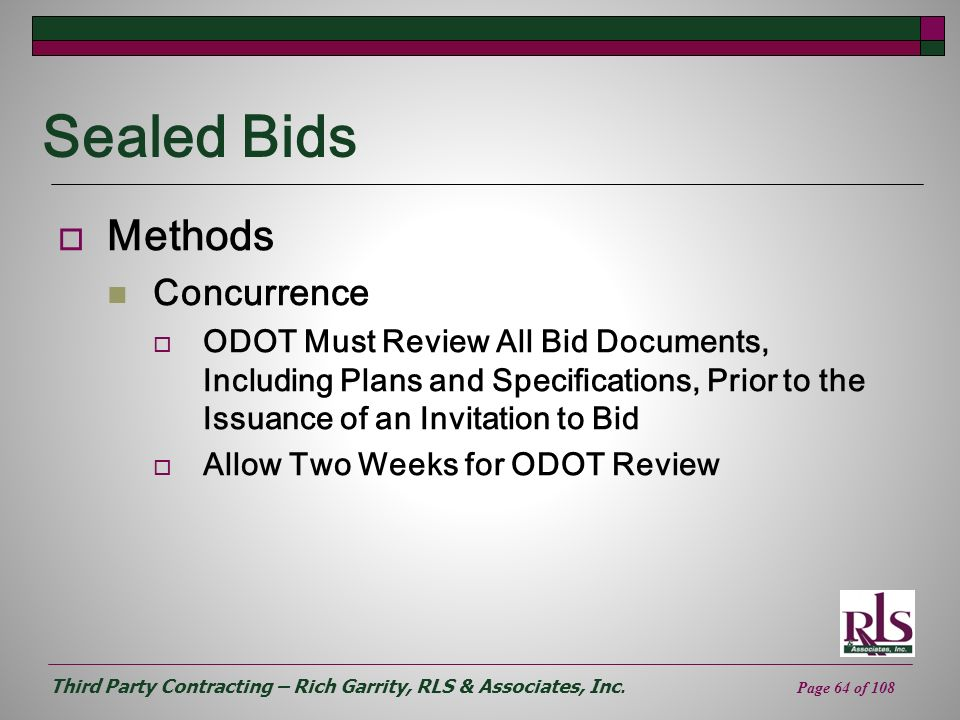 Sealed Bids Methods Concurrence