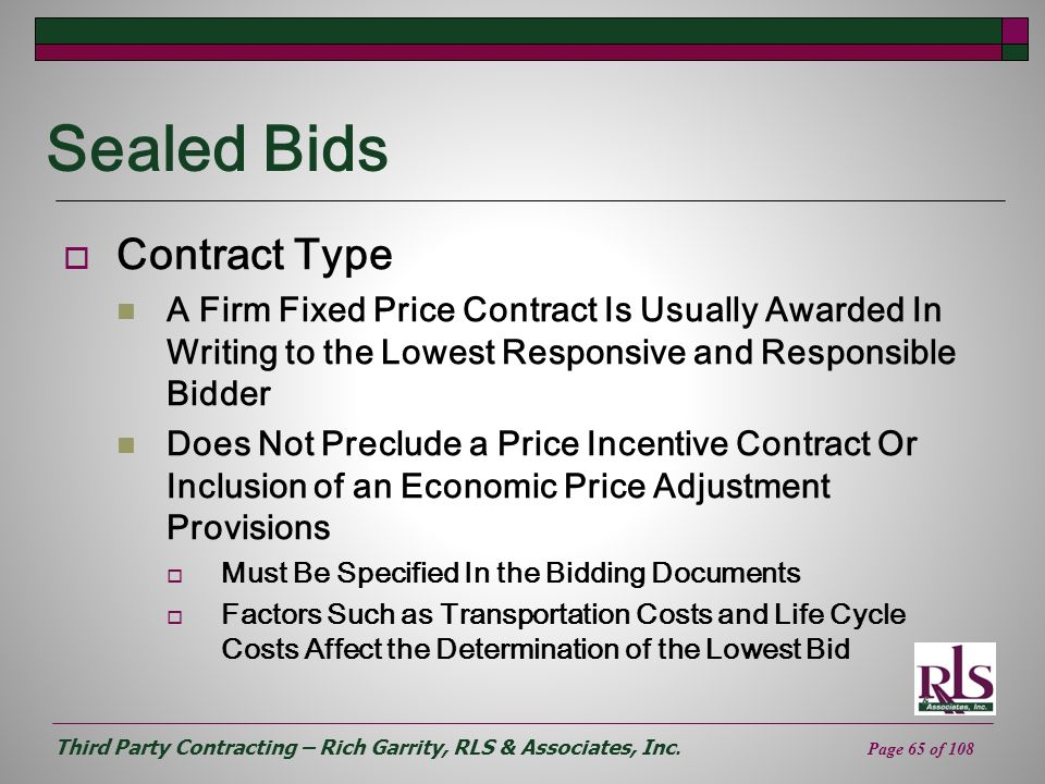 Sealed Bids Contract Type