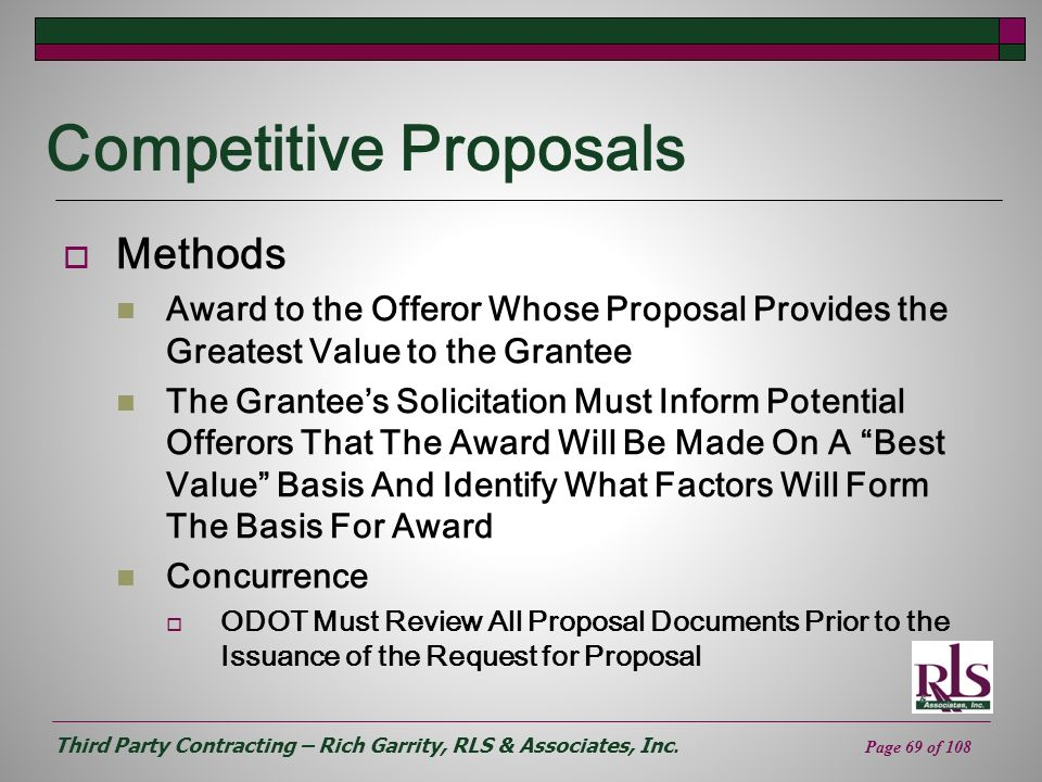 Competitive Proposals