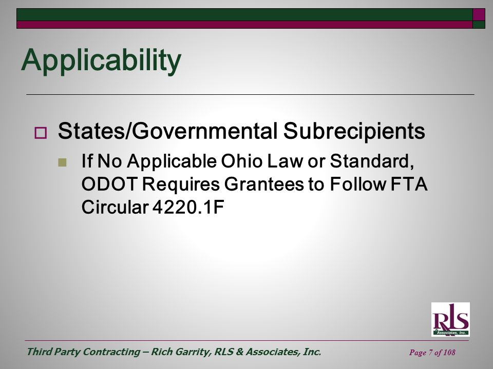 Applicability States/Governmental Subrecipients