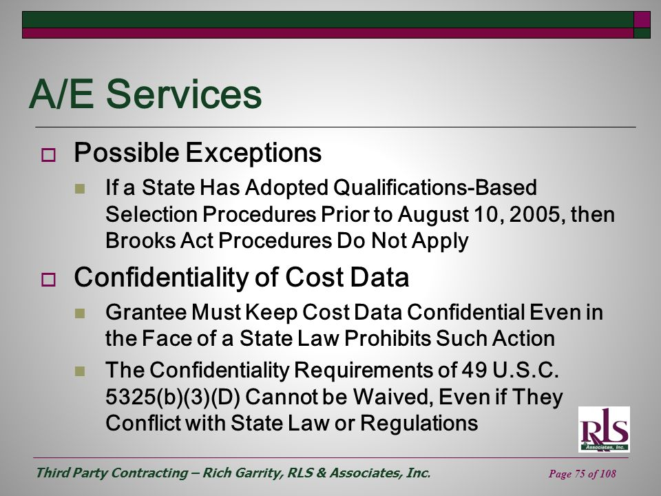 A/E Services Possible Exceptions Confidentiality of Cost Data