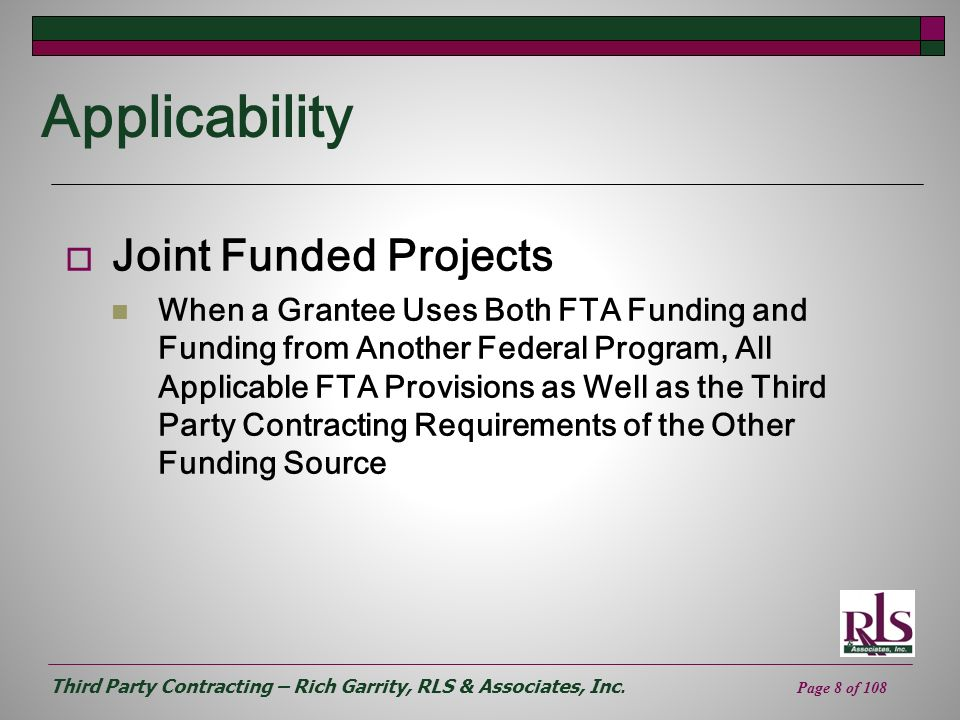 Applicability Joint Funded Projects